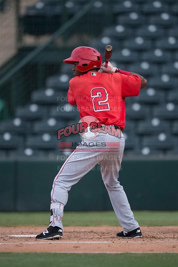 AZL Angels pinch hitter Drevian Williams-Nelson (2) at bat during the completion of a suspended Arizona League game against the AZL Diamondbacks at Tempe Diablo Stadium on July 16, 2018 in Tempe, Arizona. The game was a continuation of the July 11, 2018 contest that was suspended by rain in the middle of the eighth inning. The AZL Diamondbacks defeated the AZL Angels 12-8. (Zachary Lucy/Four Seam Images)