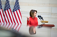 United States House Minority Leader Nancy Pelosi (Democrat of California), speaks during a ceremony dedicating a chair in the United States Capitol Building to honor United States soldiers labeled as 'Prisoners of War' or 'Missing in Action' at the United States Capitol Building in Washington, D.C. on November 8th, 2017. <br /> Credit: Alex Edelman / CNP /MediaPunch