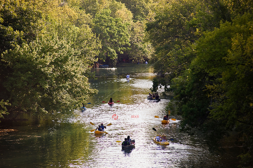 Canoeing, kayaking and rafting on Barton Creek at Zilker Park is a favorite Austin pastime