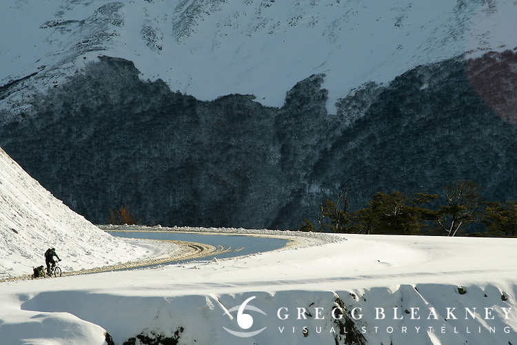 Don Thomas clears the top of Garibaldi Pass, the southernmost paved-road route in the world. Ushuaia, Argentina.