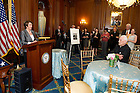 May 22, 2013; House Democratic leader Nancy Pelosi, speaks during a special reception for University President Emeritus Rev. Theodore M. Hesburgh, C.S.C.,  celebrating his 96th birthday in the Rayburn Room of the U.S. Capitol. The reception was also held to a honor his 70th anniversary as a priest of the Congregation of Holy Cross. Photo by Barbara Johnston/University of Notre Dame