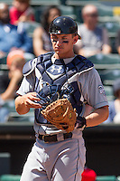 New Orleans Zephyrs catcher Rob Brantly (6) after chasing a fly ball during the Pacific League game at the Chickasaw Bricktown Ballpark against the Oklahoma City RedHawks on April 13, 2014 in Oklahoma City, Oklahoma.  The RedHawks defeated the Zephyrs 4-3.  (William Purnell/Four Seam Images)