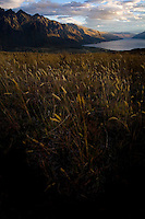The Remarkables mountain range and Lake Wakatipu surrounding Queenstown, New Zealand