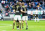 Solna 2015-04-26 Fotboll Allsvenskan AIK - &Ouml;rebro SK :  <br /> AIK:s Henok Goitom och Nils-Eric Johansson gratulerar Fredrik Brustad efter sitt 3-0 m&aring;l under matchen mellan AIK och &Ouml;rebro SK <br /> (Foto: Kenta J&ouml;nsson) Nyckelord:  AIK Gnaget Friends Arena Allsvenskan &Ouml;rebro &Ouml;SK jubel gl&auml;dje lycka glad happy