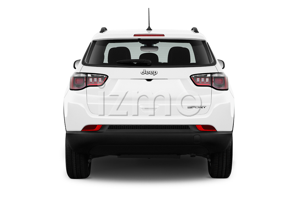 Straight rear view of a 2017 Jeep Compass Sport 2wd 5 Door SUV stock images