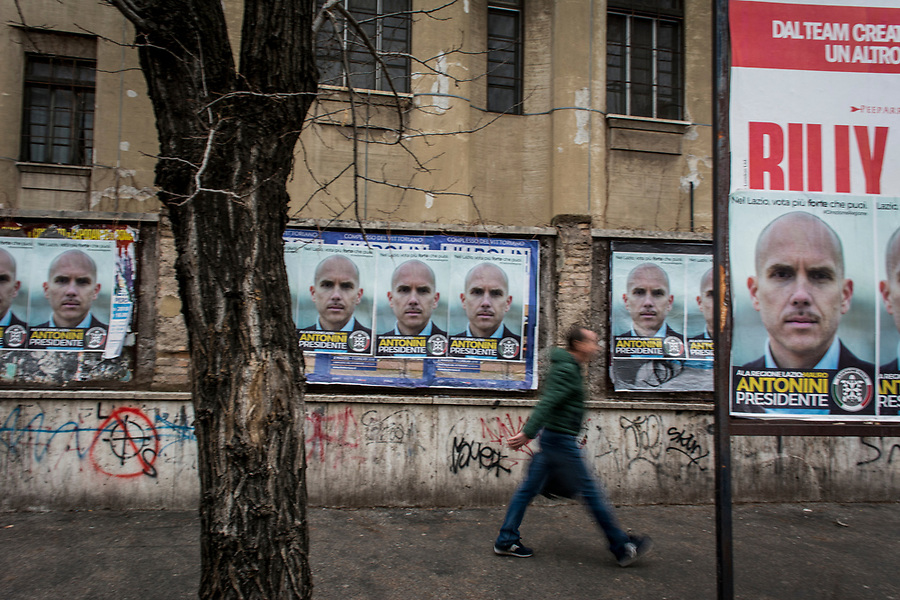 Posters of the Lazio region candidate by neofascist group Casa Pound in the Roman San Giovanni neighbourhood.