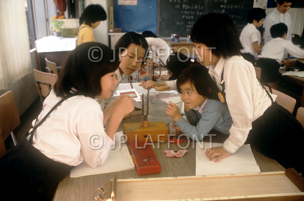 October, 1980. Tokyo, Japan. The students of the University of Chuo, Daigaku, in Tokyo, dilligently learn science, mathematics, art, music and other subjects throughout the educational process.