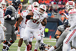 Wisconsin Badgers defensive lineman Alec James (57) celebrates a tackle during an NCAA College Big Ten Conference football game against the Illinois Fighting Illini Saturday, October 28, 2017, in Champaign, Illinois. The Badgers won 24-10. (Photo by David Stluka)
