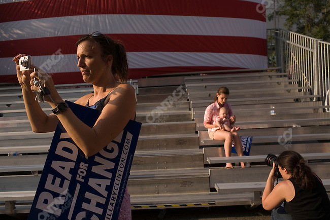 Supporters of Senator Hillary Clinton (D-New York), potential Democratic Presidential candiate, attend a campaign rally. Iowa City, Iowa, July 3, 2007.