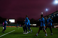 The Tottenham team warm up under a moody nights sky prior to kick off of the Fly Emirates FA Cup Fourth Round match between Newport County and Tottenham Hotspur at Rodney Parade, Newport, Wales, UK. Saturday 27 January 2018
