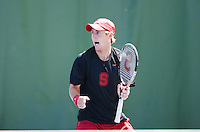 STANFORD-- April 20, 2013: John Morrissey during the Stanford vs. Cal match Saturday afternoon at Taube Family Tennis Stadium.<br /> <br /> The Cal Bears defeated the Cardinal 4-3.