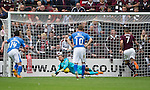 Hearts v St Johnstone...02.08.15   SPFL Tynecastle, Edinburgh<br /> Osman Sow'spenalty is saved by Alan Mannus only to Jamie Walker follow up to put the ball in the net<br /> Picture by Graeme Hart.<br /> Copyright Perthshire Picture Agency<br /> Tel: 01738 623350  Mobile: 07990 594431