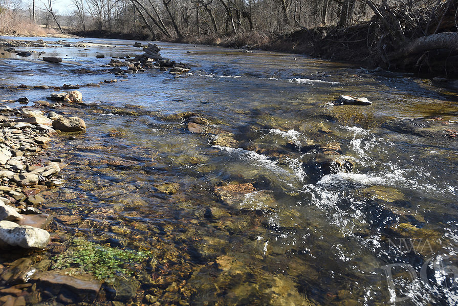 NWA Democrat-Gazette/FLIP PUTTHOFF<br />The West Fork of the White River is seen Jan. 12 2018 from U.S. 71 Scenic Byway at Brentwood Community Park.
