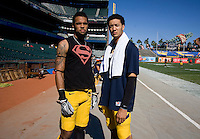 Zach Maynard of California and Keenan Allen of California pose together for pictures before the game against Utah at AT&T Park in San Francisco, California on October 22, 2011.   California defeated Utah, 34-10.