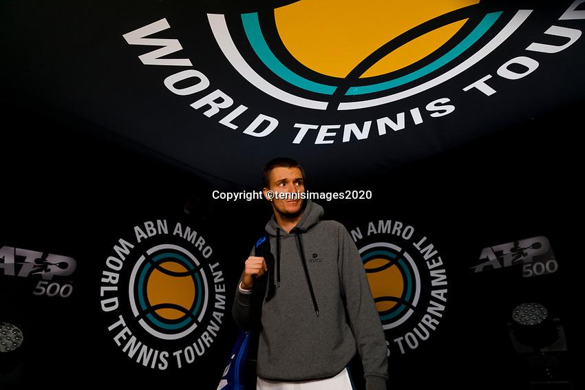 Rotterdam, The Netherlands, 9 Februari 2020, ABNAMRO World Tennis Tournament, Ahoy, Alexander Bublik (KAZ).<br /> Photo: www.tennisimages.com