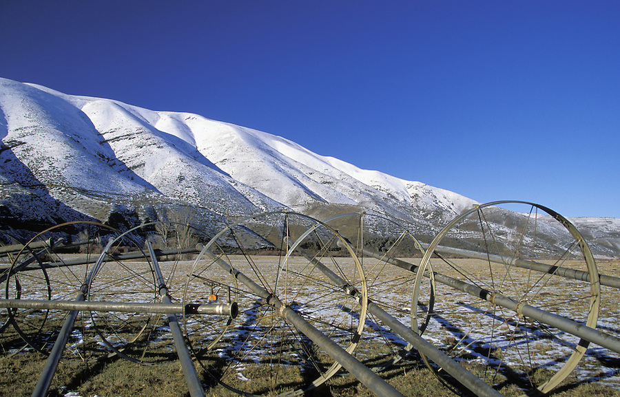 Irrigation equipment and snowy mountains, Yakima River Canyon, Yakima, Washington