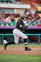 Erie SeaWolves designated hitter Danny Woodrow (10) follows through on a swing during a game against the New Hampshire Fisher Cats on June 20, 2018 at UPMC Park in Erie, Pennsylvania.  New Hampshire defeated Erie 10-9.  (Mike Janes/Four Seam Images)