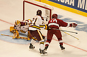 (Miska) Carson Soucy (UMD - 21), Adam Fox (Harvard - 18) - The University of Minnesota Duluth Bulldogs defeated the Harvard University Crimson 2-1 in their Frozen Four semi-final on April 6, 2017, at the United Center in Chicago, Illinois.