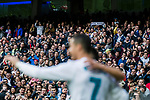 Soccer fans celebrate Cristiano Ronaldo of Real Madrid's scoring during the La Liga 2017-18 match between Real Madrid and Sevilla FC at Santiago Bernabeu Stadium on 09 December 2017 in Madrid, Spain. Photo by Diego Souto / Power Sport Images