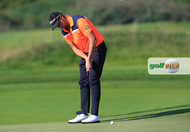 Bjorn Akesson (SWE) on the 4th green during Round 1 of the 2016 KLM Open at the Dutch Golf Club at Spijk in The Netherlands on Thursday 08/09/16.<br /> Picture: Thos Caffrey | Golffile