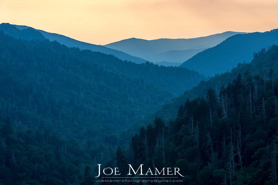 Sunset from Newfound Gap in Great Smoky Mountains National Park.