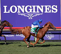 DEL MAR, CA - NOVEMBER 04: Wuheida  #5, ridden by William Buick, wins the Breeders' Cup Filly & Mare Turf race on Day 2 of the 2017 Breeders' Cup World Championships at Del Mar Racing Club on November 4, 2017 in Del Mar, California. (Photo by Kazushi Ishida/Eclipse Sportswire/Breeders Cup)