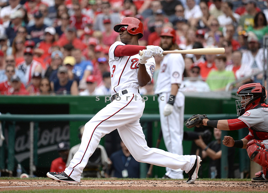 Washington Nationals Michael Taylor (3) during a game against the Cincinnati Reds on July 3, 2016 at Nationals Park in Washington DC. The Nationals beat the Reds 12-1.