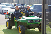 (L-R) Billy Reid, assistant manager and Alan Curtis, assistant coach on an electric buggy during the Swansea City Training Session at The Fairwood Training Ground, Swansea, Wales, UK. Thursday 28 March 2019
