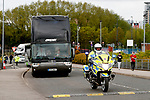 The Manchester United team coach arrives with police escort before the UEFA Europa League Quarter Final 2nd Leg match at Old Trafford, Manchester. Picture date: April 20th, 2017. Pic credit should read: Matt McNulty/Sportimage