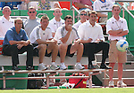 24 June 2007: Kansas City's coaching staff watches first half action. Seated (from right):  head coach Curt Onalfo, assistant coaches Kris Kelderman, David Tenney, and Chris Henderson.  The Houston Dynamo defeated the Kansas City Wizards 1-0 at Arrowhead Stadium in Kansas City, Missouri in a regular season Major League Soccer 2007 game.