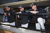 (L-R) Wake Forest Demon Deacons head coach Tom Walter (16), volunteer assistant Joey Hammond (29), and assistant coach Bill Cilento (37) prior to the game against the Gardner-Webb Runnin' Bulldogs at David F. Couch Ballpark on February 18, 2018 in  Winston-Salem, North Carolina. The Demon Deacons defeated the Runnin' Bulldogs 8-4 in game one of a double-header.  (Brian Westerholt/Four Seam Images)