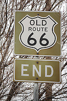 Sign marking the end of Old Route 66 in Vega Texas.