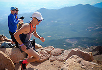 August 19, 2017 - Colorado Springs, Colorado, U.S. -  Englewood, Colorado runner, Seth DeMoor, nears the summit and a third place finish in the 62nd running of the Pikes Peak Ascent.  The Ascent is a full half-marathon gaining over 7800 feet in elevation to reach the summit at 14,115 feet.  Mountain runners from around the world converge on Pikes Peak for two days of racing on America's Mountain in Colorado Springs, Colorado.