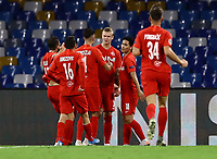 5th November 2019; Stadio San Paolo, Naples, Campania, Italy; UEFA Champions League Group Stage Football, Napoli versus Red Bull Salzburg; Erling Braut Haland of Salzburg  celebrates after scoring on 11 minutes for 0-1  - Editorial Use