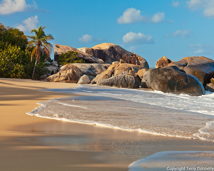 Virgin Gorda, British Virgin Islands, Caribbean <br /> Morning light on rocks and surf of Valley Trunk Beach
