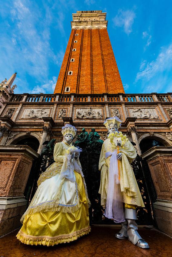 Revelers in carnival costume, Venice Carnival (Carnevale di Venezia), Venice, Italy.