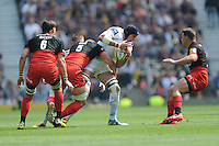 Mitch Lees of Exeter Chiefs is tackled by George Kruis of Saracens during the Aviva Premiership Rugby Final between Saracens and Exeter Chiefs at Twickenham Stadium on Saturday 28th May 2016 (Photo: Rob Munro/Stewart Communications)