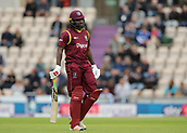 29th September 2017, Ageas Bowl, Southampton, England; One Day International Series, England versus West Indies; West Indies Chris Gayle looks dejected as he leaves the field, after being caught by Liam Plunkett of England