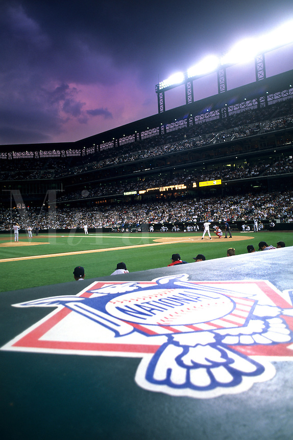 Baseball at Coors Field in Denver Colorado night game professional sport