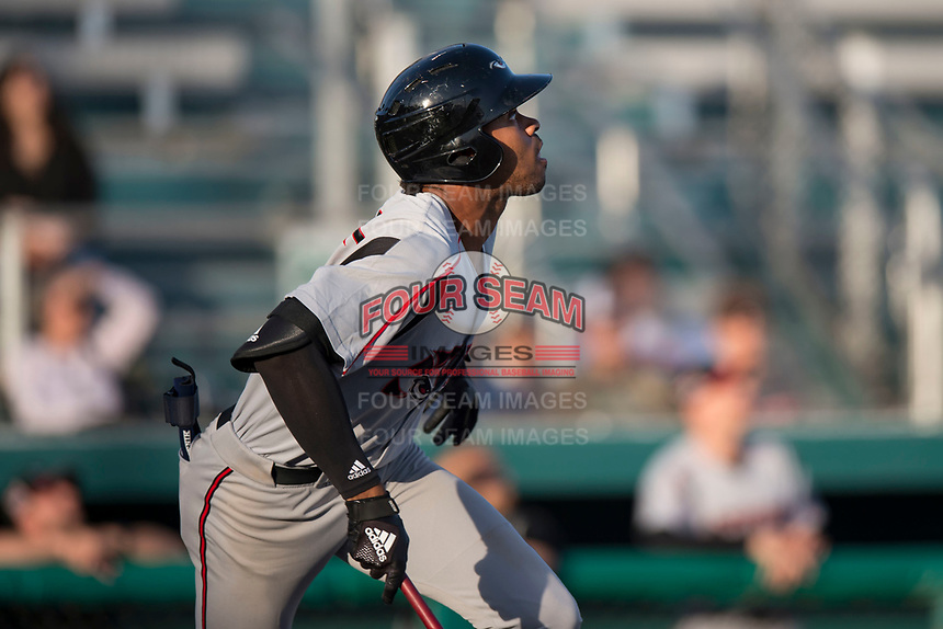 Lake Elsinore Storm left fielder Buddy Reed (23) starts down the first base line during a California League game against the Modesto Nuts at John Thurman Field on May 11, 2018 in Modesto, California. Modesto defeated Lake Elsinore 3-1. (Zachary Lucy/Four Seam Images)