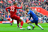 Chelsea's Eden Hazard compete with Liverpool's Joel Matip<br /> <br /> Photographer Richard Martin-Roberts/CameraSport<br /> <br /> The Premier League - Liverpool v Chelsea - Sunday 14th April 2019 - Anfield - Liverpool<br /> <br /> World Copyright © 2019 CameraSport. All rights reserved. 43 Linden Ave. Countesthorpe. Leicester. England. LE8 5PG - Tel: +44 (0) 116 277 4147 - admin@camerasport.com - www.camerasport.com