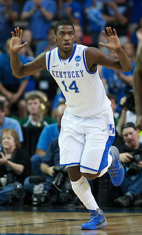 UK forward Michael Kidd-Gilchrist reacts to a play. Kentucky faced Baylor during the 2012 NCAA Tournament Regional Finals at the Georgia Dome in Atlanta, March 25, 2012. Photo by