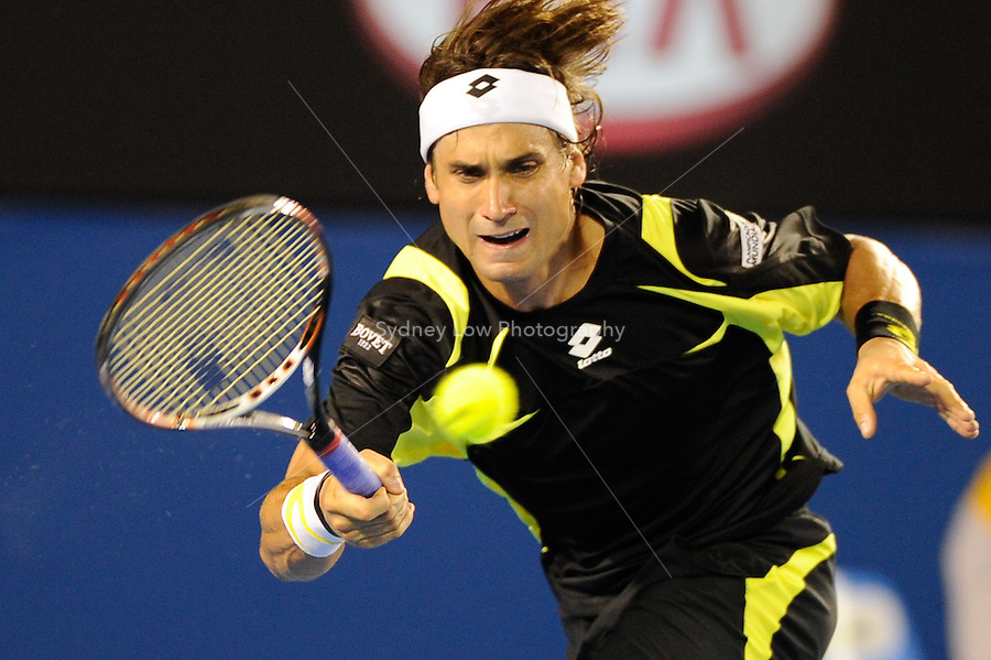 MELBOURNE, 28 JANUARY - David Ferrer (ESP) in action during his semi final match against Andy Murray (GBR) on day twelve of the 2011 Australian Open at Melbourne Park, Australia. (Photo Sydney Low / syd-low.com)