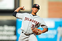 Delmarva Shorebirds relief pitcher Dennis Torres (37) in action against the Greensboro Grasshoppers at NewBridge Bank Park on May 26, 2013 in Greensboro, North Carolina.  The Grasshoppers defeated the Shorebirds 11-2.  (Brian Westerholt/Four Seam Images)