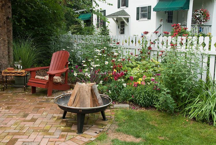 Backyard Firepit With Flower Gardn Plant Amp Flower Stock