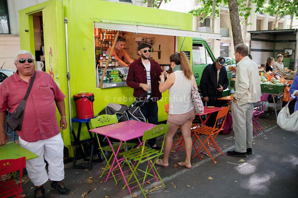 Coffee van at the Sunday morning produce market, Avenue Samuel de Champlain, Montpellier, France, 15 July 2012