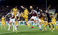 Burnley's James Tarkowski wins a header despite the attentions of Brighton & Hove Albion's Matthew Ryan<br /> <br /> Photographer Rich Linley/CameraSport<br /> <br /> The Premier League - Burnley v Brighton and Hove Albion - Saturday 8th December 2018 - Turf Moor - Burnley<br /> <br /> World Copyright © 2018 CameraSport. All rights reserved. 43 Linden Ave. Countesthorpe. Leicester. England. LE8 5PG - Tel: +44 (0) 116 277 4147 - admin@camerasport.com - www.camerasport.com