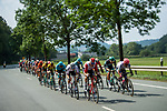 The peloton lined out during Stage 2 of the Deutschland Tour 2019, running 202km from Marburg to Gottingen, Germany. 30th August 2019.<br /> Picture: ASO/Marcel Hilger | Cyclefile<br /> All photos usage must carry mandatory copyright credit (© Cyclefile | ASO/Marcel Hilger)