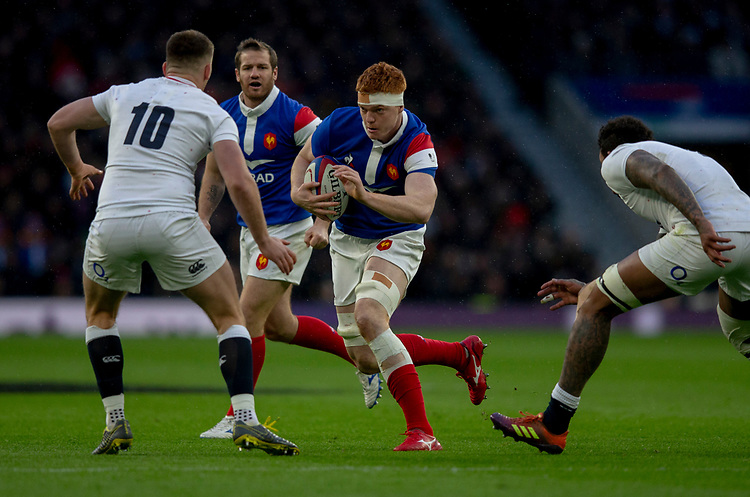 France's Felix Lambey in action during todays match<br /> <br /> Photographer Bob Bradford/CameraSport<br /> <br /> Guinness Six Nations Championship - England v France - Sunday 10th February 2019 - Twickenham Stadium - London<br /> <br /> World Copyright © 2019 CameraSport. All rights reserved. 43 Linden Ave. Countesthorpe. Leicester. England. LE8 5PG - Tel: +44 (0) 116 277 4147 - admin@camerasport.com - www.camerasport.com
