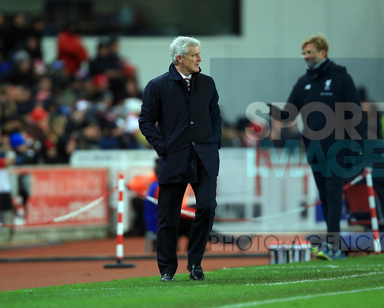 Mark Hughes manager of Stoke City during the premier league match at the bet365 Stadium, Stoke on Trent. Picture date 29th November 2017. Picture credit should read: Clint Hughes/Sportimage